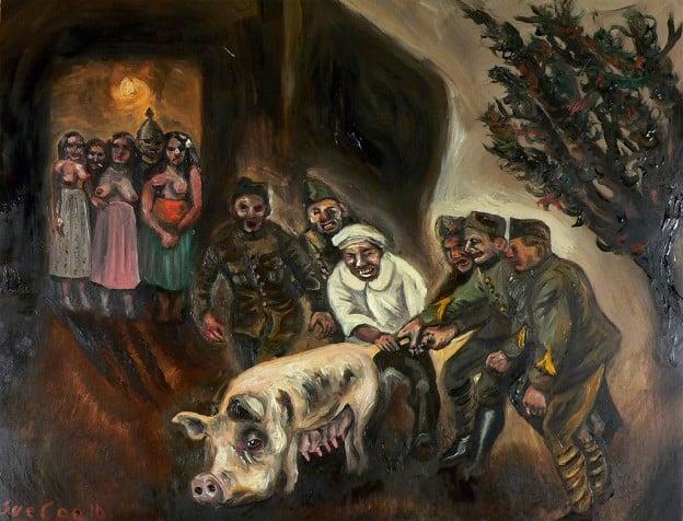 WW1 pigs by Sue Coe